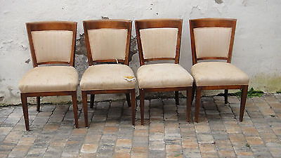 4 schöne elegante Stühle/Polsterstühle Empire massiv Kirsche zum Restaurieren