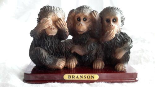 "BRANSON MONEYS FIGURINE SEE HEAR SPEAK NO EVIL VINTAGE CERAMIC WOOD BASE 3"" TALL"