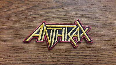 ANTHRAX,IRON ON YELLOW WITH RED EGDE EMBROIDERED PATCH