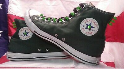 EUC Converse Chuck Taylor Forest Green with Lime Metal Spikes MENS 10 WOMENS 12