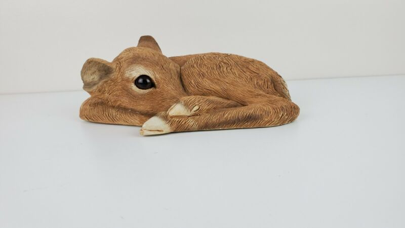"""Vintage Sandicast Fawn Colored Laying Deer Figurine Sculpture 8"""""""