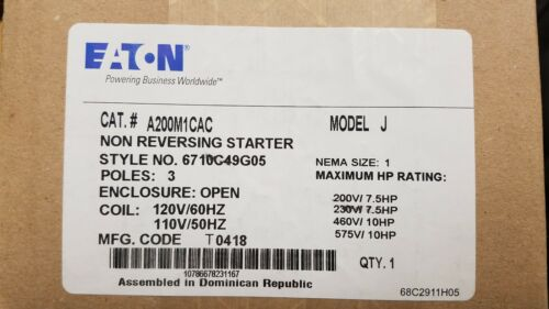 CUTLER HAMMER A200M1CAC A200 - STARTER, SIZE 1, OPEN, 3 POLE, 120V / 60HZ COIL