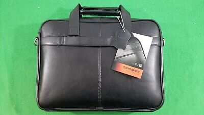 "NEW, Black Samsonite Leather Laptop Bag (Up to 15.6"" Screen), 48073-1041"
