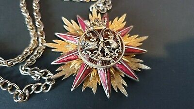 Old Tibetan Starburst Pendant with Red Enamel on Chain  …beautiful accent & coll