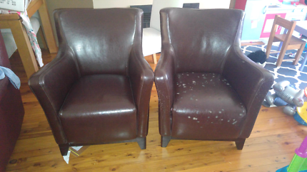 2 brown chairs