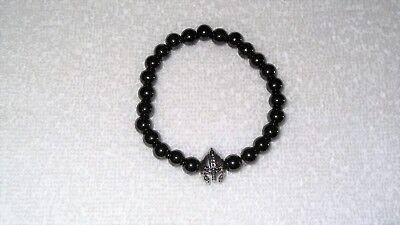 Black Magnetic Hematite Stretch Bracelet Jewelry Men's Spartan Helmet Gear - Spartan Jewelry