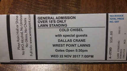 COLD CHISEL 22 NOVEMBER WREST POINT LAWNS TASMANIA TICKETS