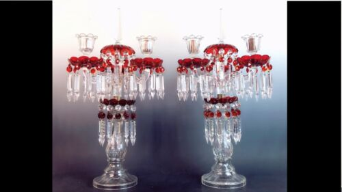 ANTIQUE BACCARAT CANDELABRA CRANBERRY RUBY RED GLASS MANTLE COLLECTIBLE PRISMS