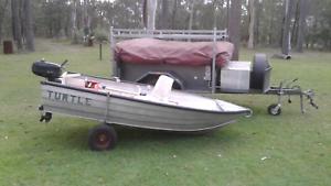 Campertrailer PLUS tinnie PLUS outboard