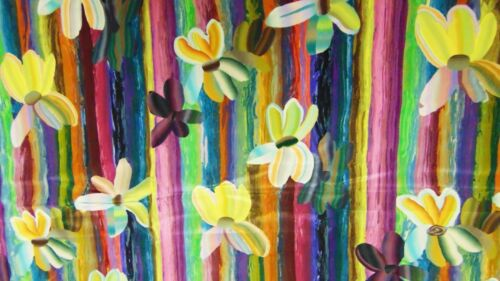 "5+ Yards Vtg Marimekko Era Made in Switzerland Silk Floral Fabric 182""x36"""