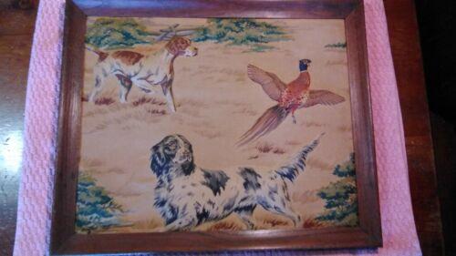 Vtg Mid Century 3D Raised Fabric Relief Art Hunting Scene Dogs & Pheasant