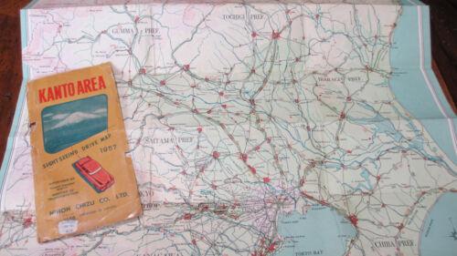 "1957 Military 21""x30"" KANTO AREA~JAPAN Sightseeing Drive Map~Nihon Chizu Co Ltd"