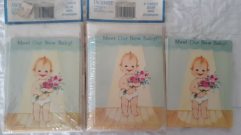 Vintage Baby Birth Announcement 24 Cards Total 16 w/Envelopes Crystal Greetings