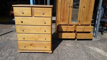 PINE TIMBER TALLBOY*CHEST OF DRAWER*OH FURNITURE LIVERPOOL*USED