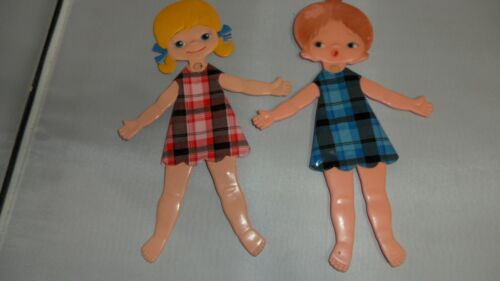 "VINTAGE HINGED ARTICULATED JOINTED FLAT FOLD POCKET PLASTIC DOLLS 11""  DURHAM IN"