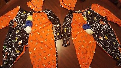 2 Vintage Matching 2pc Clown Suits & Hats Childs Homemade Halloween Costume JA