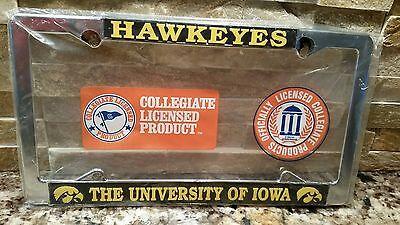 Iowa Hawkeyes Metal License Plate Frame - Car Auto - Officially Licensed Chrome Iowa Hawkeyes Plate