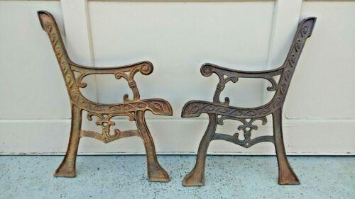 Cast Iron Park Bench Legs Vtg Pair Heavy Ornate Garden Patio Ends Child Size