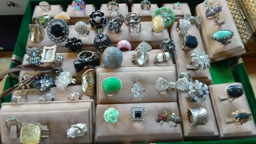 Assortment lot of fashion Rings various coloring sizes shapes and stretch