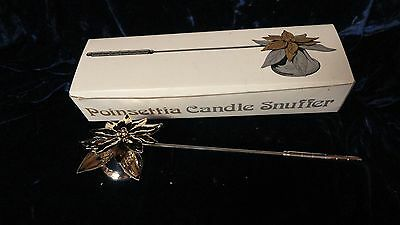 Dept 56 Pointsettia Silver & Gold Candle Snuffer IOB