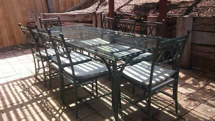 9 Piece Glass-top Outdoor Dining Set - URGENT SALE