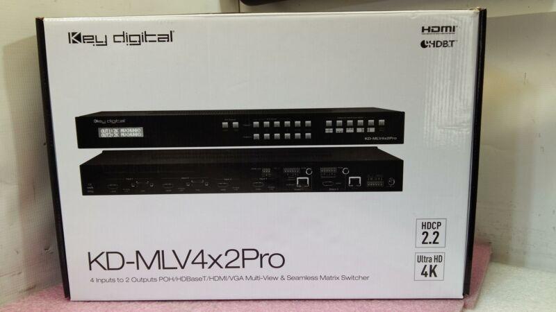 Key digital KD-MLV4x2Pro 4-inputs to 2 Outputs POH/HDBaseT/HDMI/VGA Multi v-QTY_