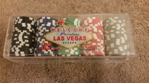 Poker Chips Las Vegas Professional Weight 11.5 Gram with Clear Tray 100 Chips