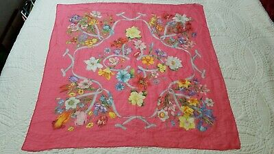 """VINTAGE GUCCI FLORAL SILK STUNNING SCARF HOT PINK 34"""" SQUARE Hand Rolled EUC"""