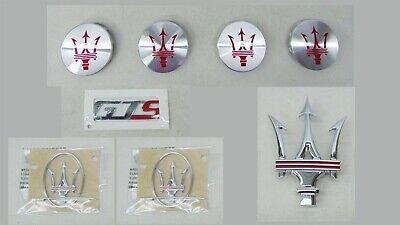 MASERATI LOGO EMBLEM SET TRIDENT GTS & WHEEL CENTER CAP INSERTS