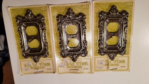 Vintage Brass Plated White Metal Ornate Electrical Receptical Plates National Lo