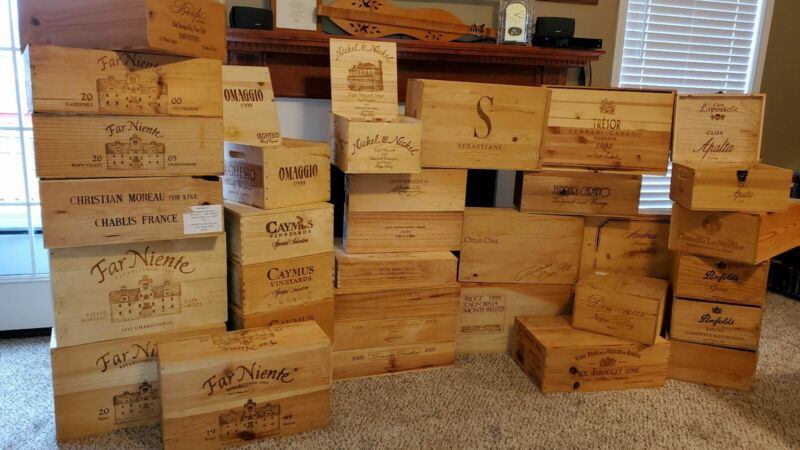 Wooden Wine Crates Boxes (Lot of 29)