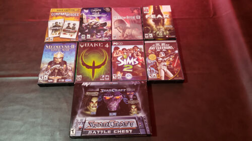9 PC CD/DVD-ROM Game Lot: StarCraft 2, F.E.A.R., The Sims 2, Quake 4, and More!
