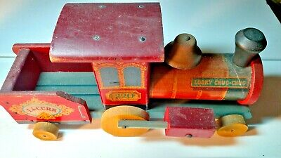1953 wooden Vintage Fisher Price Looky Chug Chug #220 pull toy