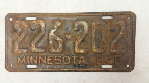 1948 MINNESOTA License Plate 226-202