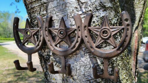Heavy Cast Iron Horseshoe 6-Hook Towel, Clothes, Coat Rack Farmhouse Home Decor
