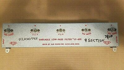 Bud Radio Variable Low Pass Filter Lf-601 9-section Uhff Rf Microwave Ham Tv