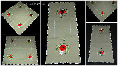 Red Poppy table runner,tablecloth,doily, linen-like with embroidery flowers (Linen Like Tablecloths)