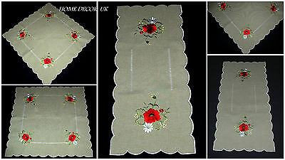 Red Poppy table runner,tablecloth,doily, linen-like with embroidery - Linen Like Tablecloths