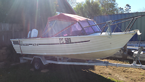 Stacer 474 alloy 16ft boat 60hp ourboard on trailer Welby Bowral Area Preview