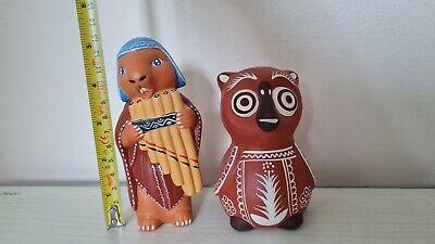 Hand made clay statue original from Peru (set of 2)