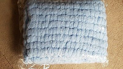 Pom Pom Soft Fluffy Hand Knitted Wool Baby Blanket, Car Seats In Blue.
