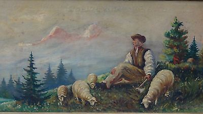 1949c AUSTRIAN ORIGINAL OIL ON BOARD PAINTING OF ALPS MOUNTAIN WITH SHEEPSHERD