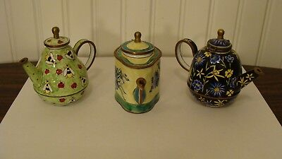 3 Miniature  Enameled Teapots With Lady Bugs, Flowers, Vase, by KELVIN CHEN,1999