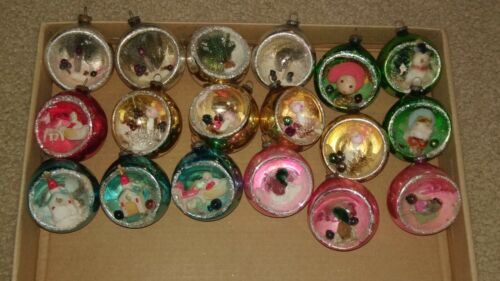 18 vintage mercury glass diorama Christmas ornaments