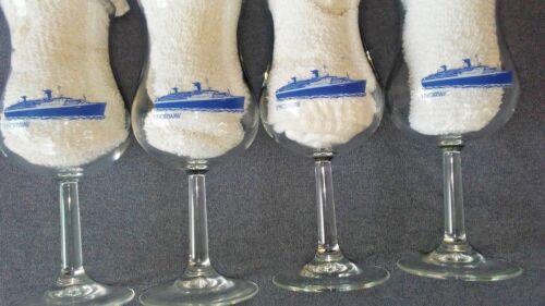 SET OF 4 NORWEGIAN CRUISE LINES VINTAGE SS NORWAY 12oz TULIP WINE GLASSES~ MINT