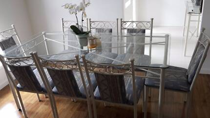 Glass Dining Table + 8 Dining Chairs Shortland Newcastle Area Preview
