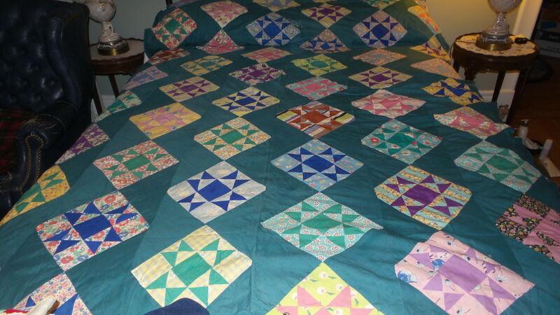 """Antique QUILT TOP Nine Patch Pattern Green Lattice, Multi-Color, 64""""x84"""""""