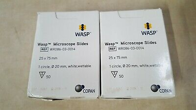 Lot Of 2 Wasp Copan Microscope Slides - Wr086-03-0014 - 25mm X 75mm - 50pack
