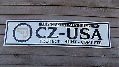 CURRENT STYLE CZ/USA FIREARMS DEALER SIGN/AD 1'X46'' ALUM. PANEL W/EAGLE LOGO