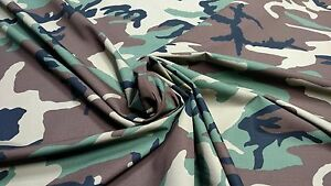 Woodlands Military Camo Cotton Vintage Ripstop 60